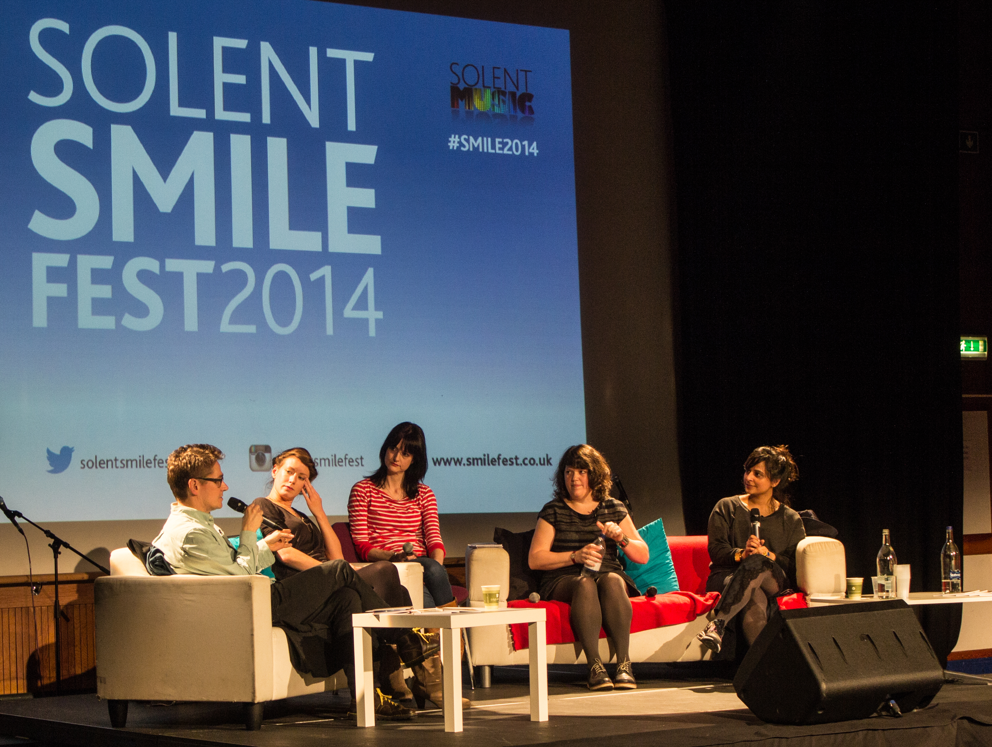 Solent Smile Festival 2014 conference on the role of women on the radio featuring Laura Barton, Nosheen Iqbal, Ruth Barnes, and John Kennedy.