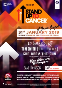 Ed Harcourt, Tom Smith (Editors) and more announced for London Stand Up To Cancer gig!